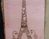 Valentine's at Eiffel Tower Original Painting , Acrylic Mixed Media with Henna Design, Love in Paris, Valentine SALE
