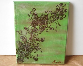 Budding New Flowers Henna Canvas Painting - OOAK- Unique