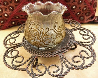Flowerbed Glass Votive Holder - Intricate Henna Design - OOAK