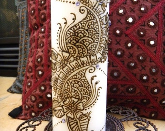 Henna Candle, has Henna Design and Swarowski Crystals - One of a Kind - Wedding centerpiece