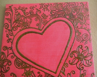 Acrylic Painting with Henna, A Heart Surrounded by Love, Original, OOAK, Unique Global Art