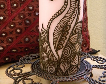 Henna Candle, Florishing Beauty design - One of a Kind - Unique Henna Art