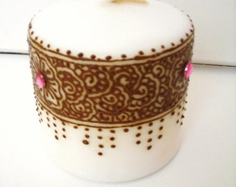 Flowery Border Candle with Henna Design - Handpainted - OOAK -