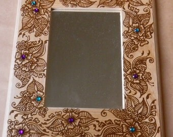 Henna on Mirror, The Light of My Eyes - OOAK - Original - Unique Modern Art