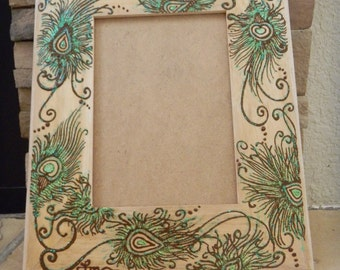 Picture Frame with Peacock Feathers, Henna Design, ORIGINAL, Unique, One of a Kind