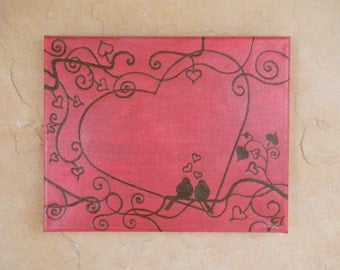 Acrylic Painting Decorated with Henna - Heart of Love - OOAK - Original Unique Global Art