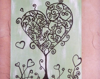 Valentine Love Tree, Original  Acrylic Painting with Henna Design- Original - OOAK- Unique Global Art