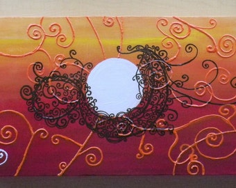 Sunset Painting Henna Art, Acrylic Painting, Unique Handpainted design