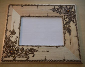 Henna Picture Frame - One of a Kind - Original - Henna Swirls- Modern Art - Reserved for rspoolstra