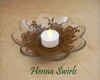 Reserved for ce301005, Luminescent Candle Dish decorated with Henna, Mehndi , ORIGINAL, Handpainted, OOAK