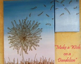 Original Dandelion Painting, Mixed Media Acrylic Henna Painting - Make a Wish on a Dandelion- OOAK- Unique Global Henna Art