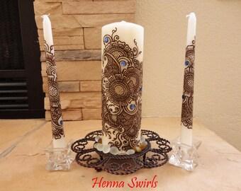 Unity Candle Set with Henna, Unique Wedding Gift, Henna Candles OOAK, Ethnic Henna Art