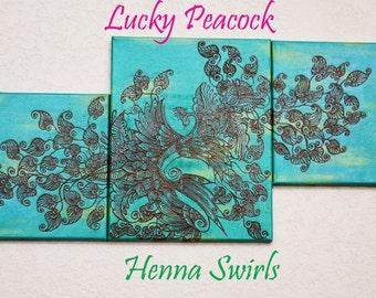 Peacock Acrylic Painting, Original, Mixed Media Acrylic Henna Painting - OOAK- Unique Global Henna Art
