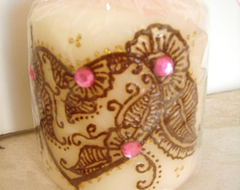 Heart-Shaped Henna Design on a Pillar Candle