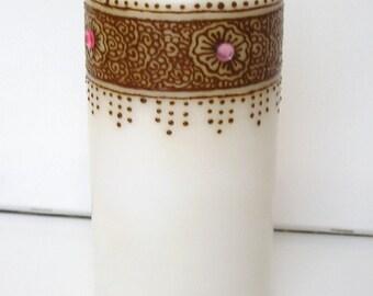 Henna Candle, Floral border, Henna Art, ORIGINAL - OOAK- Handcrafted- Unique- Modern Art