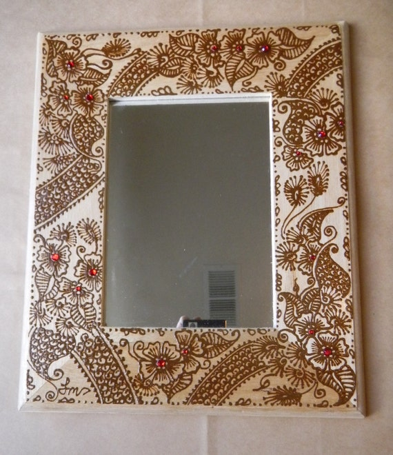 Items similar to mirror with henna art unique picture for Cool picture frame designs