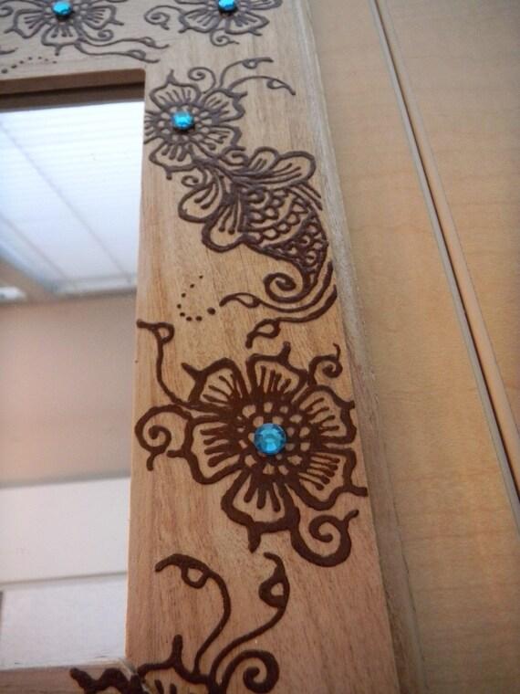 Mirror With Henna Turquoise Flower Mirror Henna Art One Of