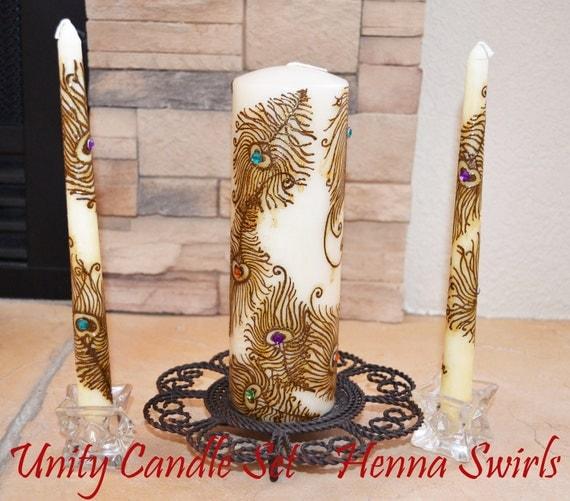 Peacock Unity Henna Candle Set, Original, Wedding Centerpiece, Global Henna Art