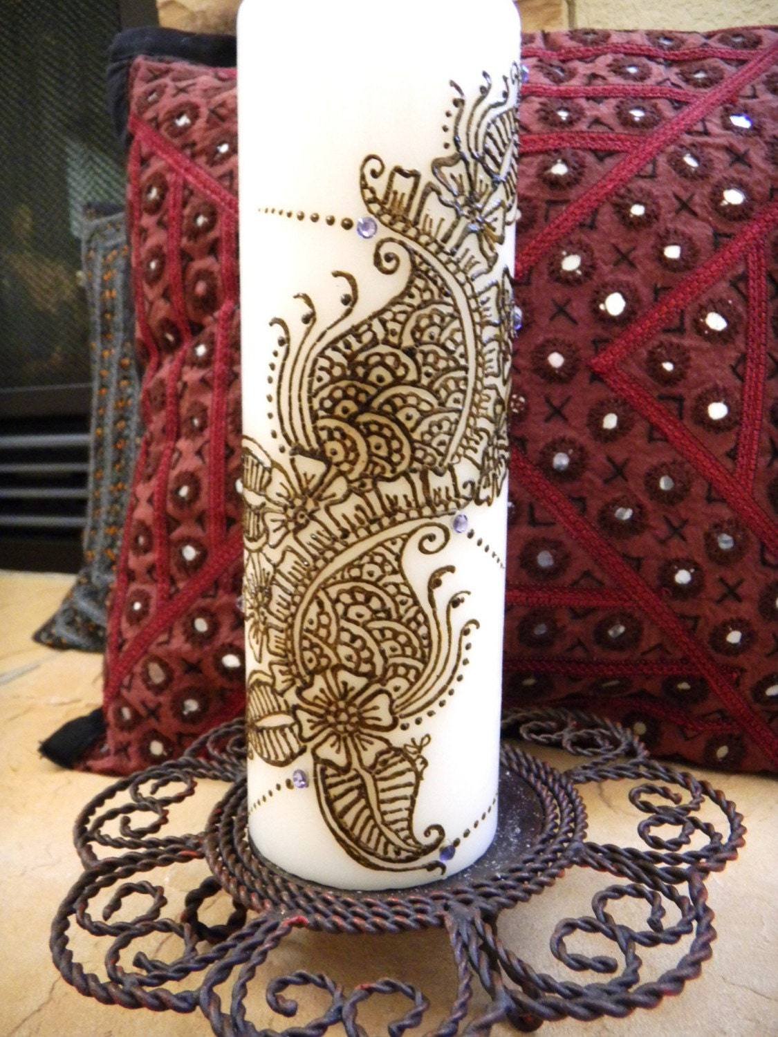 Mehndi For Candles : Henna candle has design and swarowski by mehndiart