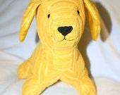 Medium Yellow Stuffed Corduroy Puppy Dog