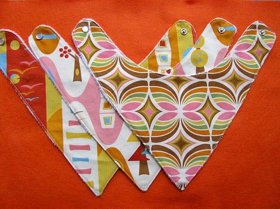 3 Baby Bandana Drool BIbs Gift Set in Designer Fabrics