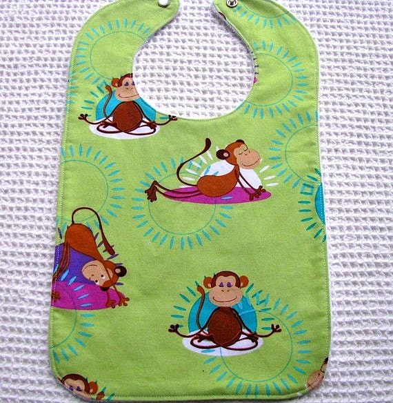 Custom Listing for Kathryn Brown Yoga Monkey Bib Michael Miller Fabric