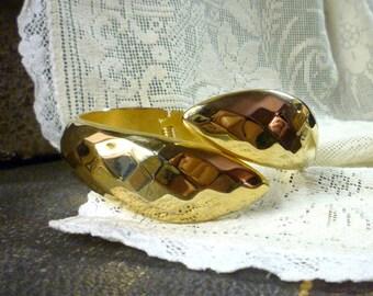 faceted goldtone clamper bracelet