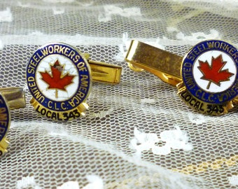 united steelworkers of america local 343 cufflinks and tie bar