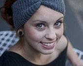 Hand Knit Grey Headband - Turban