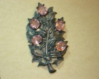Vintage Pewter Brooch Pink Rhinestones