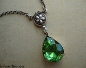 CANDIED PEARS - Vintage Estate Style Necklace in antiqued silver with peridot glass jewel and swarovski crystal