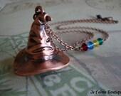 THE SORTING HAT - Harry Potter Inspired Hogwarts Sorting Hat Necklace Burnished Copper Gryffindor Ravenclaw Hufflepuff Slytherin Swarovski