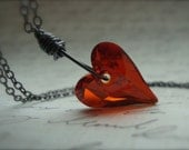 SEDUCTION - Valentine Sweetheart Necklace With Fiery Red Swarovski Crystal Heart Pendant and Gunmetal Lust Love Gift For Her Under 50