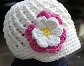 6-12 month Cream Visor Beanie with flower - Rose Pink, Vanilla, Yellow