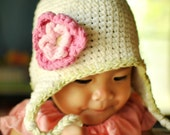 Get 1 Hat Free 1 Clip  2T-4T Vanilla, Celery Earflap Beanie with Flower - Hot pink, Pastel pink, Celery