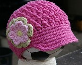 2T-4T Hot Pink Visor Beanie with flower - Celery, Pink, Yellow