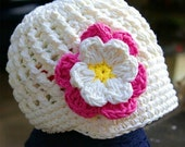 12 - 24 month Cream Visor Beanie with flower - Hot Pink, Cream, Yellow