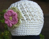 2T - 4T Cream Visor Beanie with flower - Celery, Pastel Pink, Yellow
