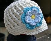 3 - 6 month Cream Visor Beanie with flower - Hot Blue, Light Blue, Yellow