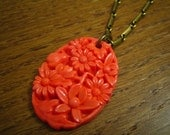 coral floral necklace