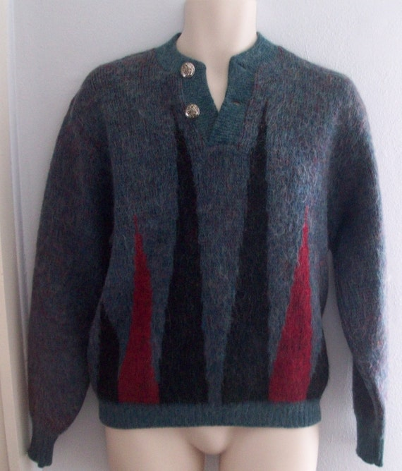 RESERVED for BROOKEBARBER VINTAGE 1950's-1960's Puritan Mohair Backgammon Sweater