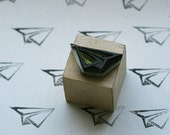 Handcarved Rubber Stamp - Paper Plane - Custom and Unique Designs