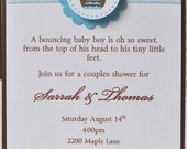 Owl Baby Shower Invitation, Blue and Brown