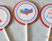 Airplane Cupcake Toppers, set of 12