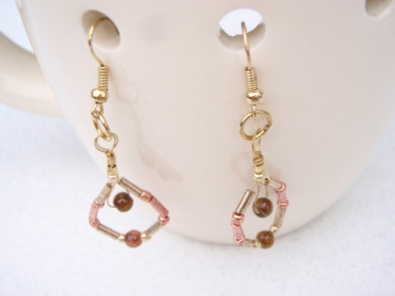 Little Brown Glass Bead  with Glass Pink and Gold Bugle Beads Earrings