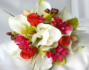 TROPICAL DESTINATION Wedding Bouquet Real Touch LATEX