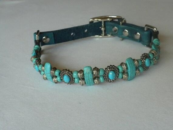 "Handmade Beaded Dog Collar 14"" - 17"""