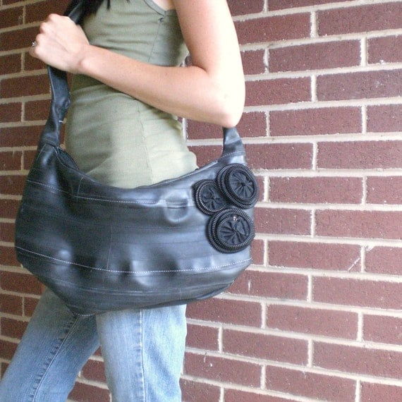 Recycled Bike Tube Hobo Bag with Zipper Accent Flowers - Reclaimed Wreckage