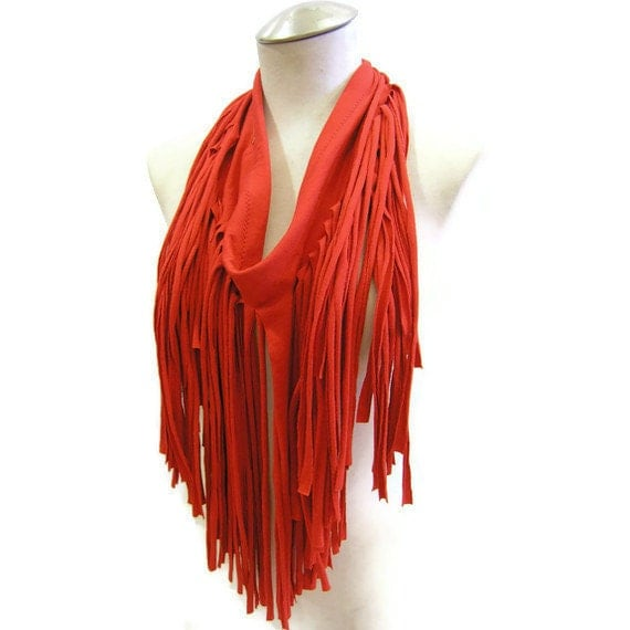 Reclaimed Fringe Infinity Scarf in Cherry Red