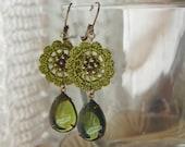 Olive Glass Jewel Drop Earrings